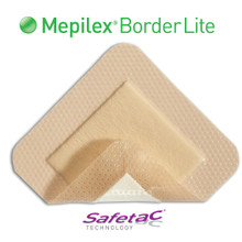 Mepilex Border Lite is a thin all-in-one foam dressing that effectively absorbs and retains wound fluid (exudate) but keeps the wound sufficiently moist. Mepilex Border Lite is a thinner version of Mepilex Border. The unique and patented Safetac adhesive makes sure that your dressing can be changed without damaging your wound or skin around it. This makes the dressing change as pain free as possible and also makes sure that the skin around your wound stays dry and healthy.