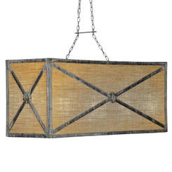 French Iron Medallion Rectangular Small 8 Light Chandelier