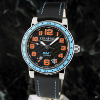 Graham Silverstone Time Zone GMT Racing Blue ~ Carbon Fiber Dial~ 2TZAS.B01A