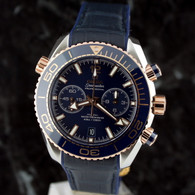OMEGA SEAMASTER 18k Gold/SS Planet Ocean Chrono BLUE 215.23.46.51.03.001