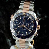 OMEGA SEAMASTER 18k Gold/SS Planet Ocean Chrono BLUE 215.20.46.51.03.001