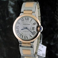 Cartier 36mm BALLON BLEU 18k Pink Gold & Stainless Steel AUTOMATIC W2BB0003
