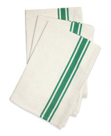 Retro Bold Twill Kelly Green Stripe Dishtowel 18in x 28in 3/pkg