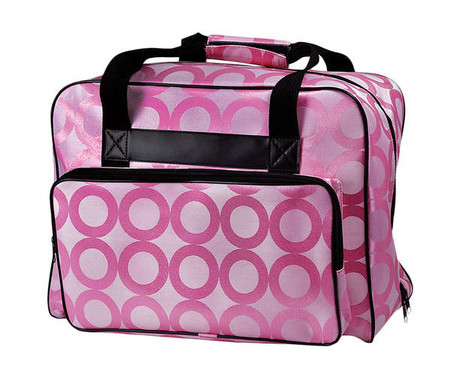 Sewing Machine Tote Pink Circles