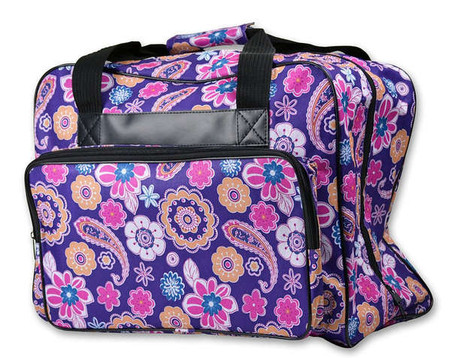 Sewing Machine Tote Purple Floral Paisley