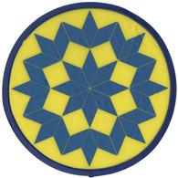 Yellow Blue Quilt Pattern Hand Fan