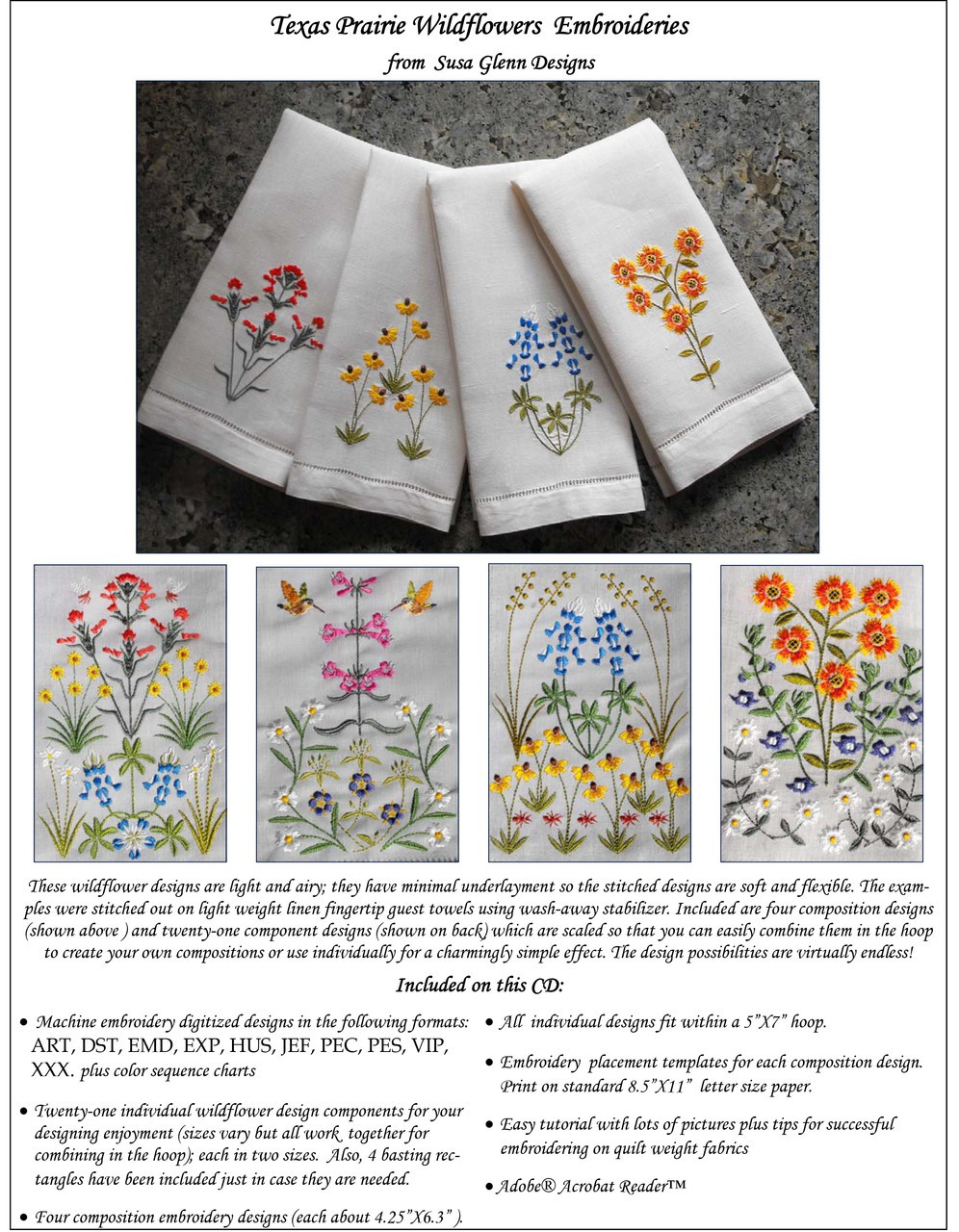 picture relating to Printable Embroidery Placement Ruler known as Texas Prairie Wildflowers Embroidery CD