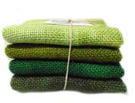 Hand Dyed Burlap Bundle Greens