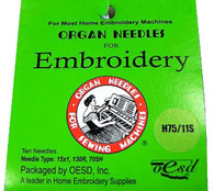Organ Sharps 75/11 Embroidery Needles