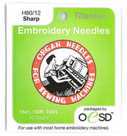 Organ Titanium Sharps 80/12 Embroidery Needles