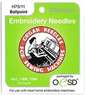 Organ Titanium Ballpoint 75/11 Embroidery Needles