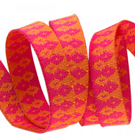 3/8in Ribbon Orange on Pink Wanderer by Tula Pink - By The Yard