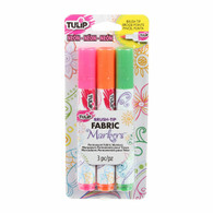 Brush Tip Neon Fabric Markers 3/pkg