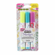 Brush Tip Bright Fabric Markers 3/pkg