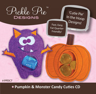 Pumpkin and Monster Candy Cuties In the Hoop Machine Embroidery Designs with CD