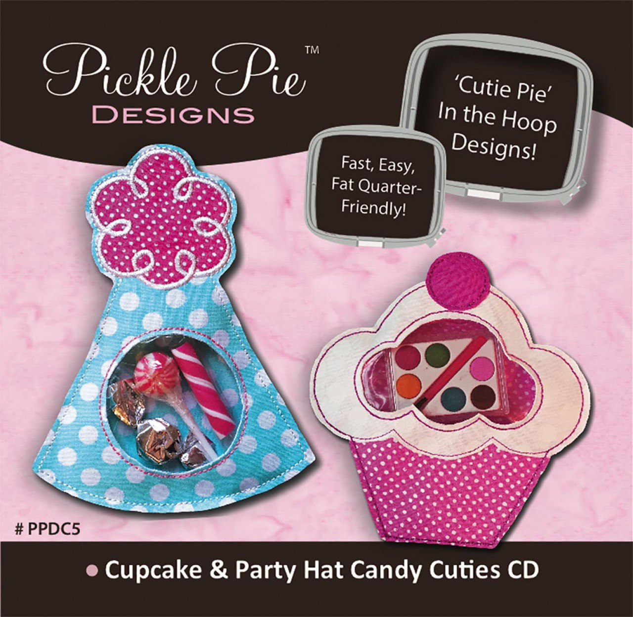 Cupcake and Party Hat Candy Cuties In the Hoop Machine Embroidery Designs  with CD