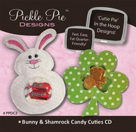 Bunny and Shamrock Candy Cuties In the Hoop Machine Embroidery Designs with CD