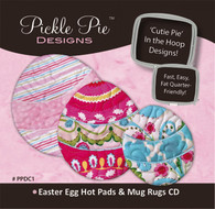 Easter Egg Hot Pads and Mug Rugs Candy Cuties In the Hoop Machine Embroidery Designs with CD