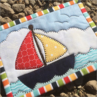 Come Sail Away Mug Rug Pattern with Laser Cut Fabric