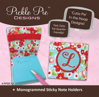 Monogrammed Sticky Note Holders In the Hoop Machine Embroidery Designs with CD