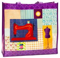 Purple Sewing Motif Shopping Tote