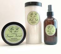 3 Piece Gift Set Sugar Scrub 8oz - Bath Salt 16oz - Body Oil 4oz Customize with Essential Oil