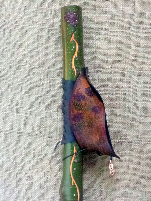 Flowers from the Heart II Walking Stick with unique hand dyed and tooled leather heart at the top.