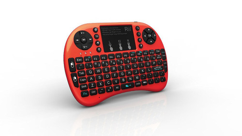 Genuine Rii I8+ 2.4G Wireless Rechargeable Keyboard/Touch Mouse for Smart TV, TV Box,PC with Multi-touch up to 15 Meter Range- Red
