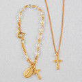 Gold Crystal Baby Bracelet & Crucifix Pendant Set, Boxed