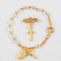 Gold Crystal Baby Bracelet & Crucifix Pin Set, Boxed