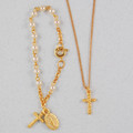 Gold Pearl Baby Bracelet & Crucifix Pendant Set, Boxed