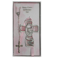 Pink Guardian Angel Cross and Rosary Set - Girl