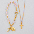 Gold Pink Baby Bracelet & Crucifix Pendant Set, Boxed