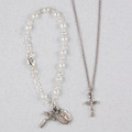 Silver Pearl Baby Bracelet & Crucifix Pendant Set, Boxed