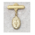 Gold Plated Sterling Silver Miraculous Medal Baby Pin