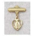 Gold Plated Sterling Silver Miraculous Medal Baby Pin 436j