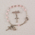 Silver Pink Baby Bracelet & Crucifix Pin Set, Boxed