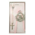 Guardian Angel Crib Medal with Pink Rosary