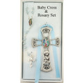 Guardian Angel Cross with Blue Rosary - Boy