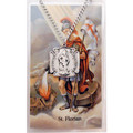 Pewter St. Florian Medal with Chain & St. Florian Prayer Card