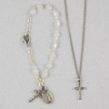 Silver Mother Of Pearl Baby Bracelet & Crucifix Pendant Set, Boxed