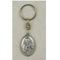 Sacred Heart Key Ring, Silver Oxidized