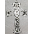 Pewter Baby Boy Cross 6""