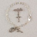 Silver Crystal Baby Bracelet & Crucifix Pin Set, Boxed