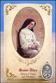 St Alice (Paralysis) Healing Holy Card with Medal