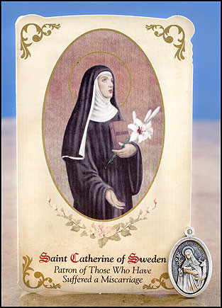 St Catherine of Sweden (Miscarriage) Healing Holy Card with Medal