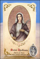 St Apollonia (Dental Ailments) Healing Holy Card with Medal