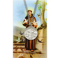 "St. Francis Pewter Medal on 24"" Chain with Holy Card"