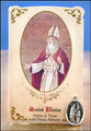 St Blaise (Throat Ailments) Healing Holy Card with Medal