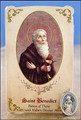St Benedict (Kidney Disease) Healing Holy Card with Medal